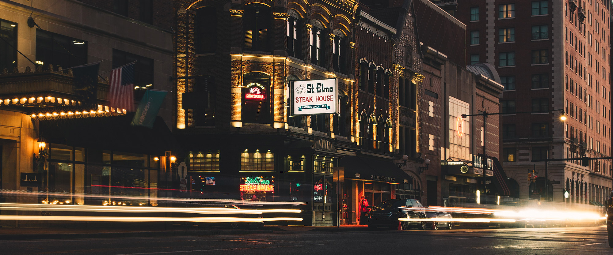 St. Elmo Steak House Exterior at night